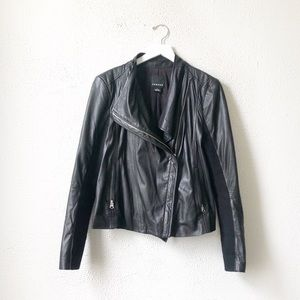 Trouve | Black Moto Leather Jacket Drape Front L